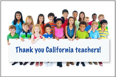 Thank you California teachers graphic